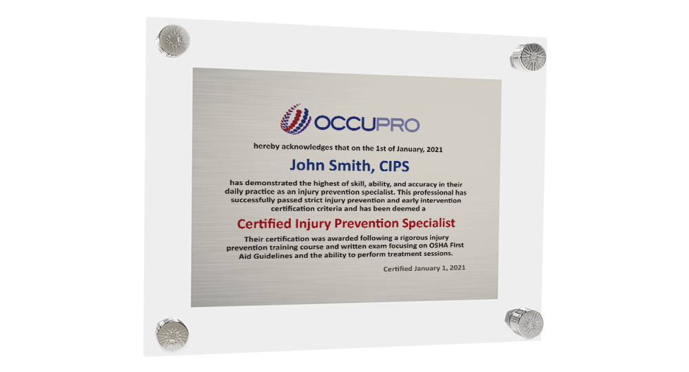 Injury Prevention Specialist Certification