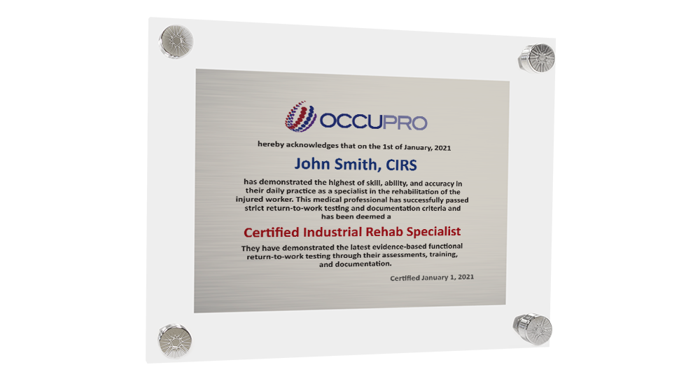 Industrial Rehab Specialist Certification