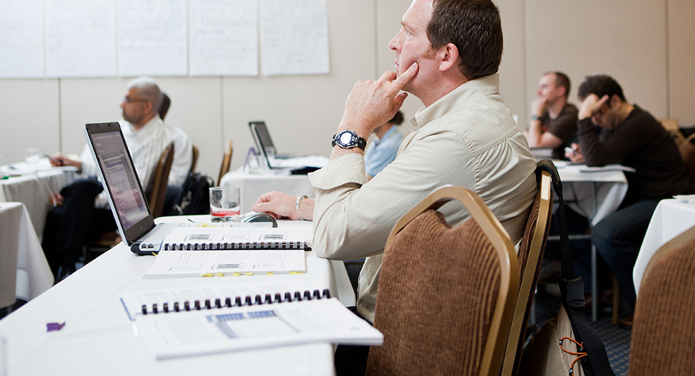 Attendee focused during course