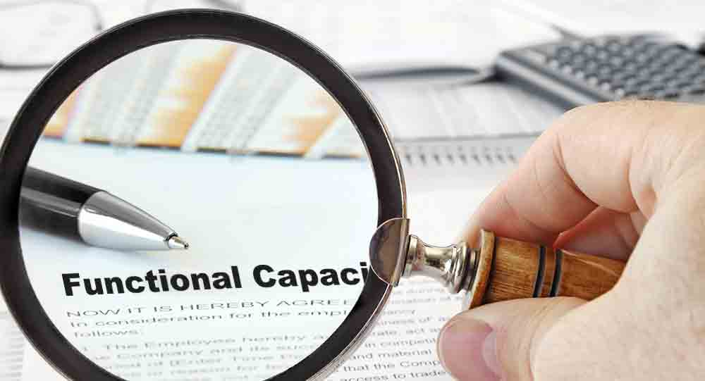 """Magnify glass focused on """"Functional Capacity Evaluation"""""""