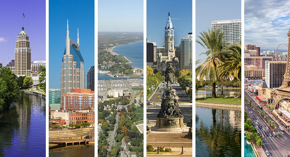 San Antonio, Nashville, Kenosha, Philadelphia, Orlando, Las Vegas